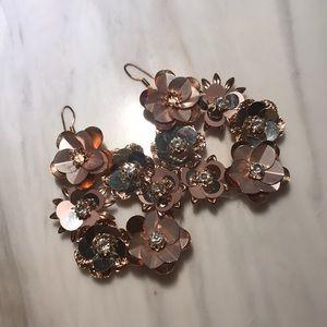 Rose gold sequin and crystal earrings